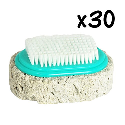 1 Box of 30 Pieces Japanese Scrub Pumice Stone with Brush for Hands Knees Foots Callus Remover Tool by Yokohama Gifts
