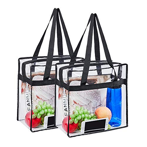"Magicbags 2 Pack Clear Tote Bag,Stadium Approved Security Clear Bag 12""×12""×6"",Sturdy PVC Construction Zippered Top, Perfect for Work, School, Sports Games and Concerts"