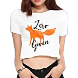 Ghhpws Zero Fox Given Summer Women Sexy Revealed Navel Short Sleeve Bare Midriff Crop Top T Shirt White S