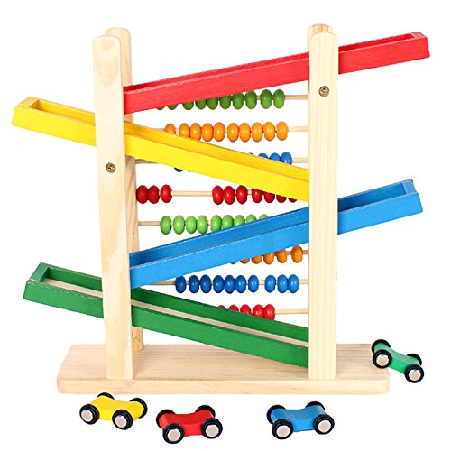 Super Cool Toys Wooden Ramp Racer With Abacus and 4 Colorful Toy Racing Cars Educational Gift for Toddlers Children Kids Easter Gift -