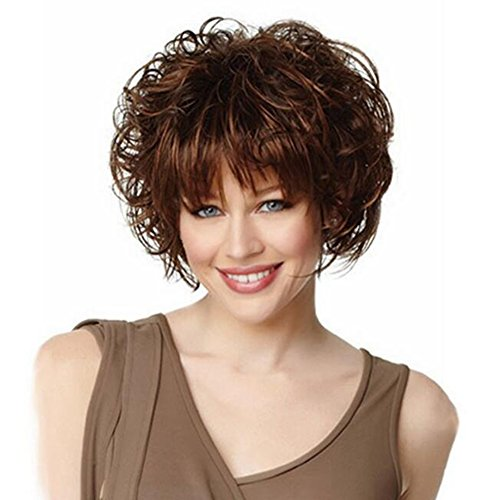 JIN Short Curly Synthetic Wigs Full Hair Women's Thick Heat Resistant Synthetic Fashion Wig Brown by WJL