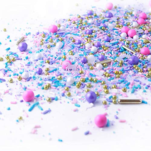 Unicorn Sprinkle Mix | Pastel | Pink Purple and Blue | Gold Unicorn Sprinkles, 2oz ()