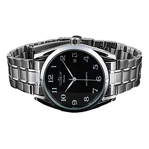 Gute Classic Mechanical Watch Black Dial Silver Steel watchband Self-wind Men-standard
