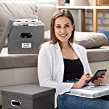 Beautiful File Organizer Box Set of 2 - Collapsible Linen Filing Cabinet for Easy File Folder Storage