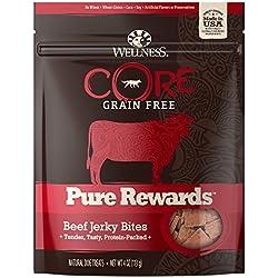 Wellness CORE Pure Rewards Natural Grain Free Dog Treats, Soft Beef Jerky Bites, 4-Ounce Bag