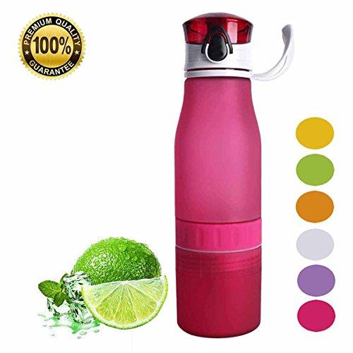 ater Bottle Leak-proof Portable Sports Bottle Flip-Top Outdoor Lemon Water Bottles 24oz red ()