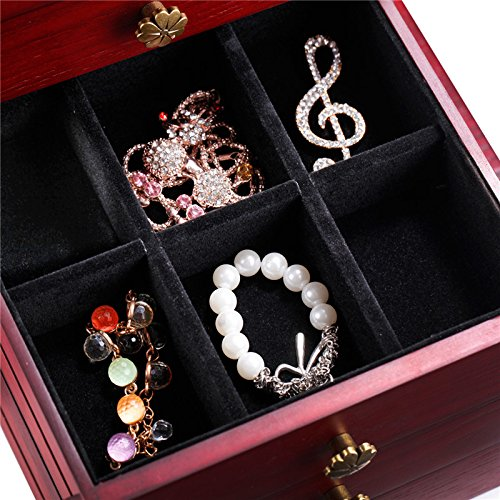 Wooden Jewelry Box Cabinet Armoire Ring Necklacel Gift Storage Box(CHERRY-2) by Rowling (Image #7)