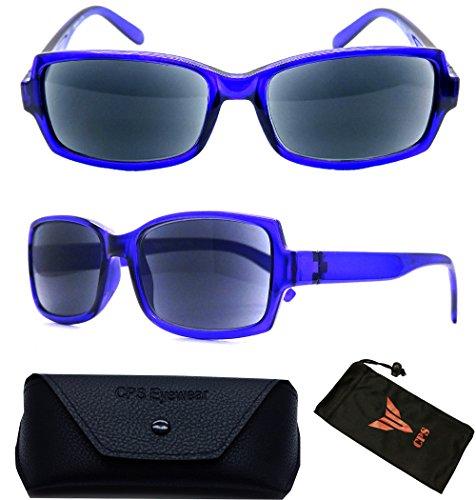 (#3SPSR Blue) 1 Pair Fashion Designer Women Squared Rectangular Shape SUN-READER Glasses - All In One Reading Glasses & Sunglasses + Free Hard Case + Cleaning Pouch ( Strength : - Sun Non Bifocal Readers