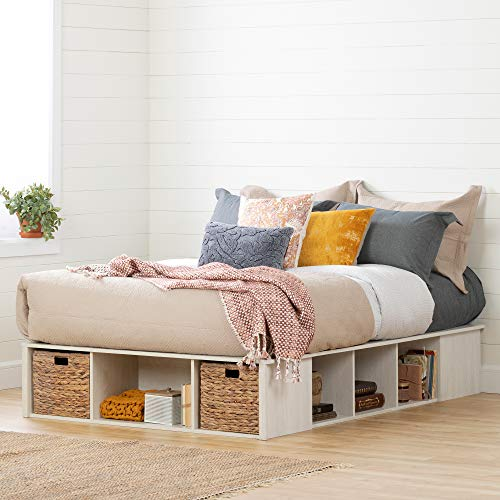 South Shore Avilla Full Storage Bed with Baskets, Winter Oak and Rattan