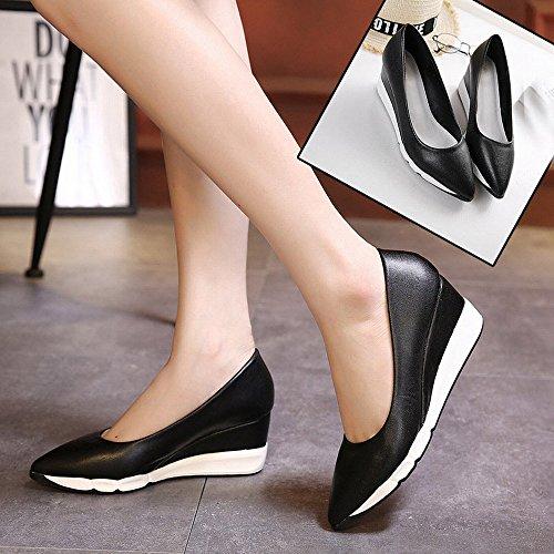 Altos El Del Zapatos 35 Pie Femeninos Con Zapatos La Europea Puntea Plataforma Dididd Gruesos Talones negro Dedo De Primavera Los gZgBzx1
