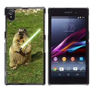 iKiki-Tech Estuche rígido para Sony Xperia Z1 L39H - Funny Groundhog with Lightsaber