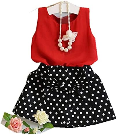 HOT SALE!!1-6 Years Old Girls Vest Pleated Dress Two Pieces Set Clothes Children Skirt Suit