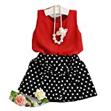 HOT SALE!!1-6 Years Old Girls Vest Pleated Dress,Woaills Two Pieces Set Clothes Children Skirt Suit (Red, 5-6Years)