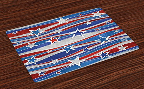 Ambesonne Rustic Place Mats Set of 4, Abstract Design Pattern of Patriotic American Flag USA National Image, Washable Fabric Placemats for Dining Room Kitchen Table Decor, Red Blue
