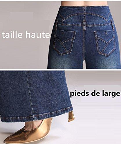 Jeans Classici Push Larghi Elefante Di Zampa Alta up Vita Donna A Pantaloni Svasati Denim Blu Chiaro Swx6zSdY