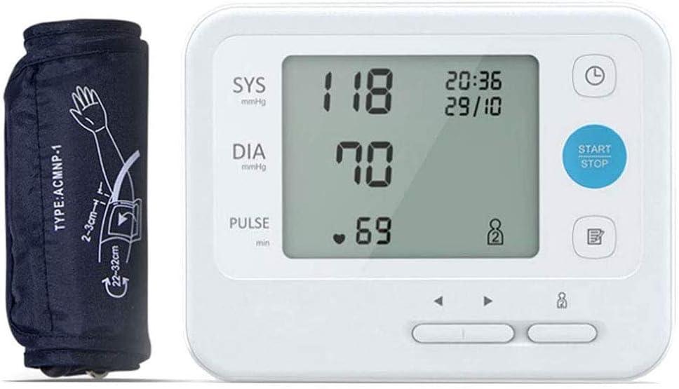 JXM Monitor De Presión Arterial del Brazo, Esfigmomanómetro del Brazo Superior Automático Preciso Usuario Dual 2 X 99 Memoria De Lectura para Uso En El Hogar De Los Padres