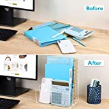 Ktrio Acrylic File Holder 3 Sections, Clear Desk