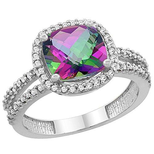al Mystic Topaz Ring Cushion-cut 8x8 mm 2-row Diamond Accents, size 10 (14k Mystic Topaz Ring)