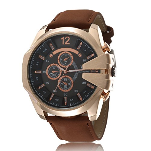 OrrOrr Retro Herren Braun Lederarmbanduhr Sportuhr Quartz Armbanduhr Weihnachtgeschenk Black Gold Brown
