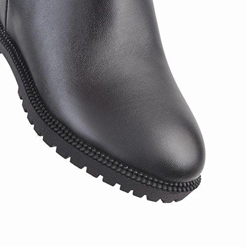 A Talons Plates Chaussures Noir La Fermeture Bottines Rond Chic Uh Eclair De Chaud Mode Bout Femmes Genoux HzOvOx