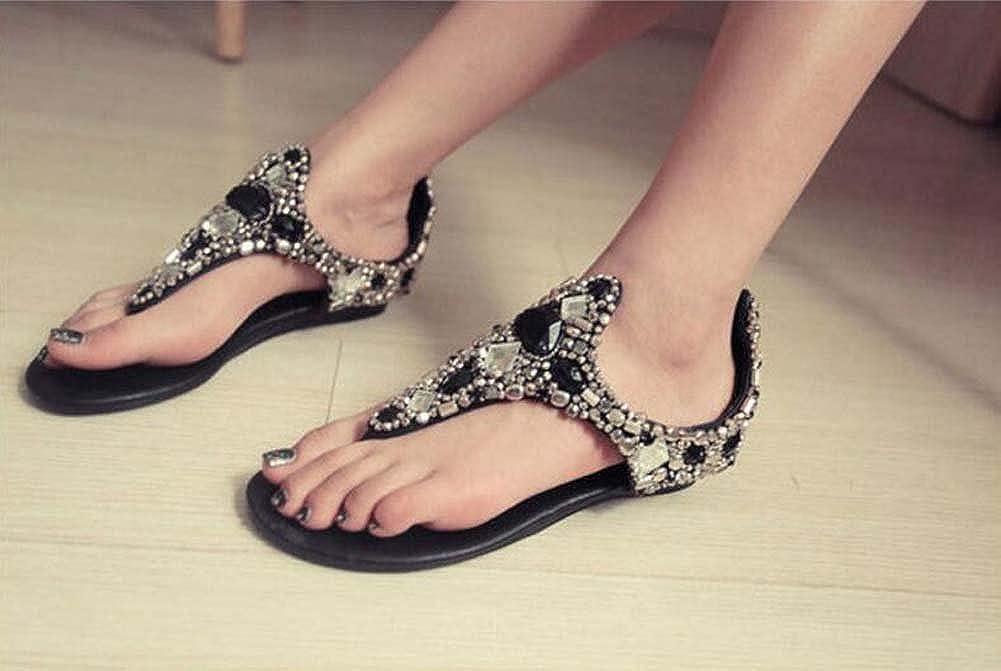 MYI Damen Perlen Schuh High High High Heel Sandaletten Strass Keilabsatz Schuhe Schwarz Weiß Größe 34-41 bcf31e