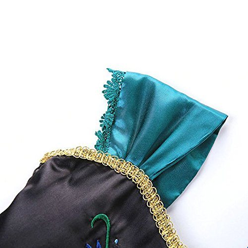 Cotrio Little Girls Anna Coronation Dress Princess Anna Costume Dress up Halloween Cosplay Party Fancy Dresses Size 4T (110, Green 02) by Cotrio (Image #6)