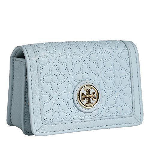 Tory Burch Bryant Leather Foldable Card Case (Iceberg)