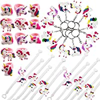 36 PCS Unicorn Party Favors Supplies, Rings, Bracelets, Keychains, Kids Girls Birthday Novel Rainbow Gifts Toys - Gtlzlz