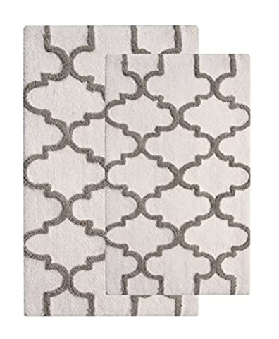 Saffron Fabs 2 Piece Bath Rug Set, 100% Soft Cotton, Size 24x17 Inch and 34x21 Inch, Latex Spray Non-Skid Backing, White/Grey, Geometric Pattern, 190 GSF Weight, Machine Washable, Rectangular (Bath Rug Sets 2 Piece)