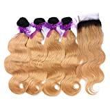 Ombre Human Weft Hair Weave Body Wave 1B 27 7A Brazilian 4 Bundles With Lace Top Closure Blonde Hair Extensions from Dream Beauty for women (12 12 12 12+12Inch)