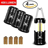 ESTRELL Latest 4 Pack 11 LED Square Black Camping Lantern,Perfect Portable Outdoor Flashlights for Fishing, Boating, Car maintenance & Bivouac