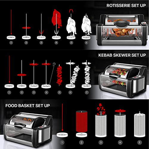 Flexzion Rotisserie Toaster Oven Grill - Countertop Kebab Electric Cooker Rotating Roaster Baking Machine Stainless Steel w/ 7 Kebob Skewers, Heat Resistant Gloves, Bake Ware for Professional & Home by Flexzion (Image #5)