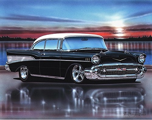 1957 Chevy Bel Air 2 Door Hardtop Hot Rod Car Art Print Black & White 11x14 Poster