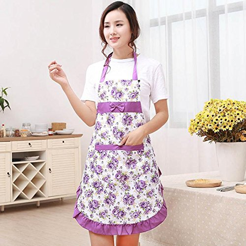 1Pcs Aprons Printed Waterproof Floral with Pockets Cooking Apron for Girls Women Home Supplier Kitchen Utensils Tools BBQ Christmas Chef 74.5cm x68.5cm (Doctor Who Cat Nurse Costume)