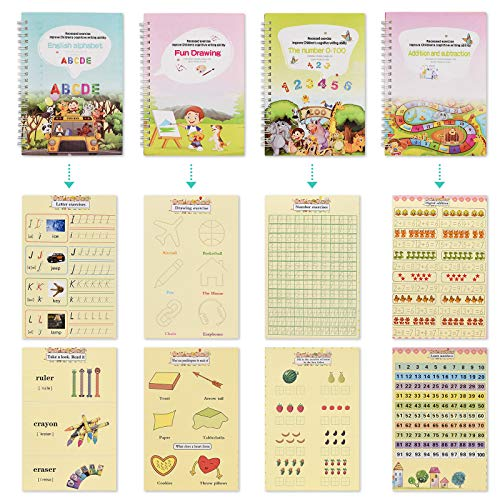 English Magic Practice Copybook for Kids, Be Reused Handwriting Copybook Set, Caligraphy Practice Book, Numbers, Drawing, Alphabet, Addition and Subtraction