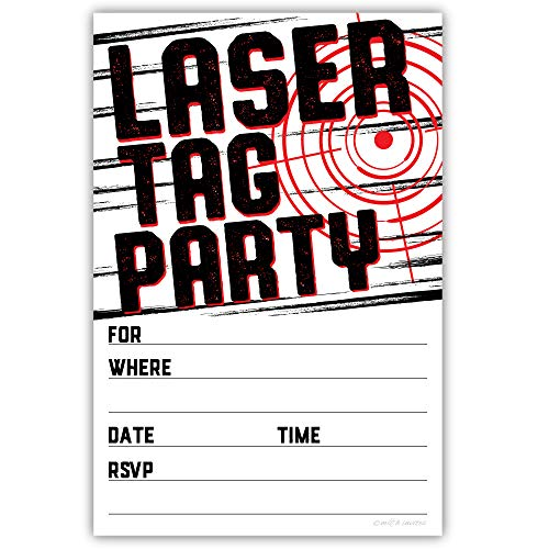Laser Tag Party Invitations (20 Count) with Envelopes - Laser Tag Birthday -