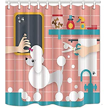 SZDR Cartoon Pet Decorates Shower Curtain Shop Gives The Poodle A Bath Bathroom Accessories 69X70 Inches Perfect Anti Mildew Polyester Fabric