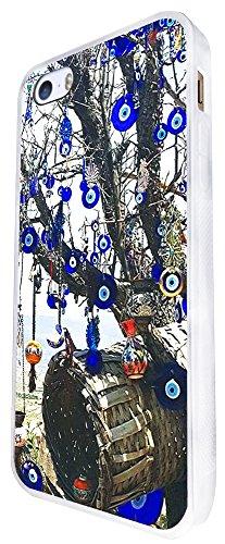 802 - Multi Evil Eye Arabic Art Design iphone SE - 2016 Coque Fashion Trend Case Coque Protection Cover plastique et métal - Blanc