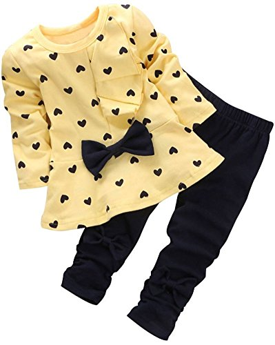 BomDeals Adorable Cute Toddler Baby Girl Clothing 2pcs Top&Pants Outfits (12-18 Months, Yellow)