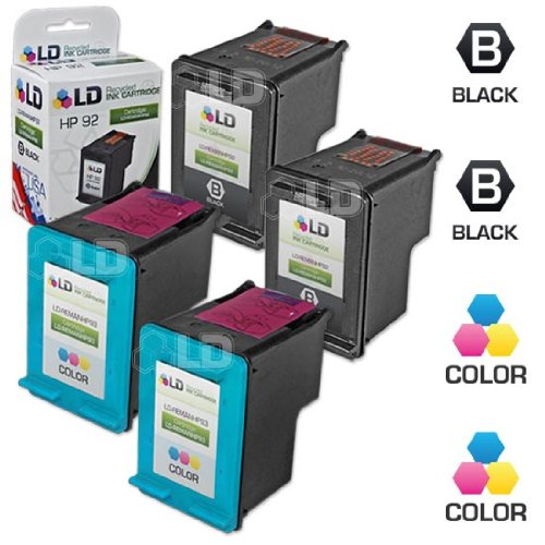 LD Remanufactured Ink Cartridge Replacements for HP 92 & HP 93 (2 Black, 2 Color, 4-Pack) (Hp C3180 All In One Printer Ink Cartridge)