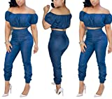 Puissant Fashion Strappy Jeans Women's Slim and Leisure Two-Piece,X-Large,Blue
