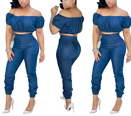 Puissant Fashion Strappy Jeans Women's Slim and Leisure Two-Piece,X-Large,Blue by Puissant Jumpsuits-apparel