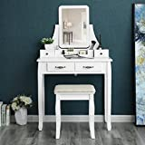 SONGMICS Vanity Set, 2 Large Sliding Drawers, Removable Makeup Organizer for Brushes Nail Polishes, Easy Assembly, Dressing Table with Mirror and Stool White URDT12W