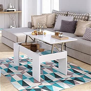 Cravog Table Basse Transformable 100 Cm Blanc Brillant