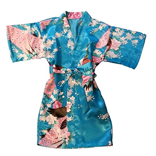Awind Girls' Kimono Wrap Sleepwear Junior Bridesmaid Flower Girl Robe Short Turquoise Blue 8]()