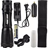 Leewa 5000LM(Max Output) XM-L T6 LED Tactical Zoomable Flashlight+1x18650 Battery Holder+1xAdapter For 3xAAA Battery+1xHolster+1x360° Cycling Flashlight Holder+1xBattery Charger+1 x18650 Battery