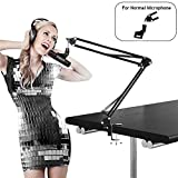 Earamble Professional Studio Condenser Microphone Suspension Boom Scissor Mic Arm Stand with Table Mounting Clamp Suitable for Blue Yeti Snowball