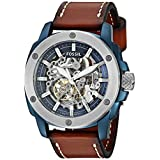 Fossil Men's Automatic Stainless Steel and Leather Casual Watch, Color:Brown (Model: ME3135)