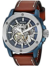 Men's Automatic Stainless Steel and Leather Casual Watch, Color:Brown (Model: ME3135)