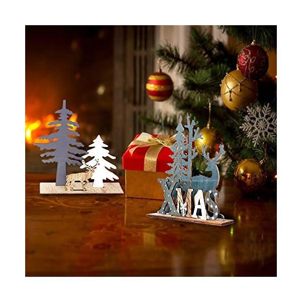 Anyingkai 2pcs Ornamenti Natalizi alci,Decorazioni da Tavolo in Legno di Alce,Legno di Alce Fai da Te Regali,Legno di Alce Ornamenti,Decorazione in Legno Renna Decorazione (Alce) 6 spesavip